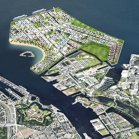 Illustration of Lynetteholm in Copenhagen harbour.