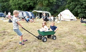 Trailer fun at Embers Camping, Polesden Lacey