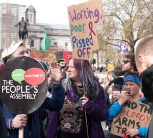 Protesters make their feelings clear at Trafalgar Sqaure