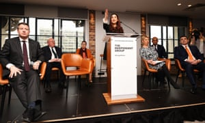 Luciana Berger (at the lectern) announces her resignation along with Chuka Umunna, Chris Leslie, Gavin Shuker, Angela Smith, Anne Coffey and Mike Gapes