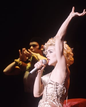 Madonna and Gabriel Trupin (left) on their Blond Ambition tour at Wembley Stadium