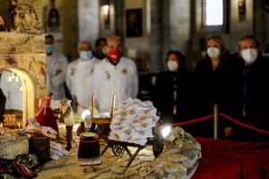 A Nativity scene made of pizza by Neapolitan 'Pizzaiuoli' pizza makers is displayed in the church of Santa Chiara in Naples, Italy, Monday, Dec. 7, 2020. According to the Association of Neapolitan pizza makers, they made the nativity scene to celebrate the third year of being inscribed in UNESCO'S List of the Intangible Cultural Heritage of Humanity. ( Fabio Sasso /LaPresse via AP)