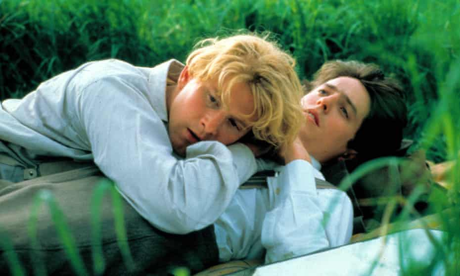 James Wilby and Hugh Grant in Maurice. The film explores the Cambridge social circuit, with its cricket matches and country-pile parties, that the title character is expected to inhabit.