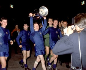Nobby Stiles celebrates with the European Cup after the 1968 final.