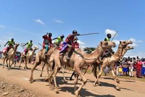 Racers during the Maralal International Camel Derby in Samburu County, Kenya
