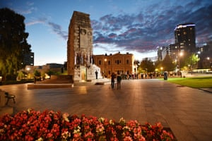 The Anzac Day dawn service at the National War Memorial in Adelaide.