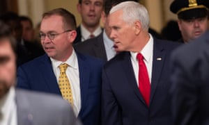 Mick Mulvaney and Vice-President Mike Pence arrive on Capitol Hill for shutdown talks on Saturday.