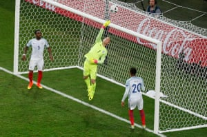 Dier comes close to adding to his international own goal tally but Hart tips over.
