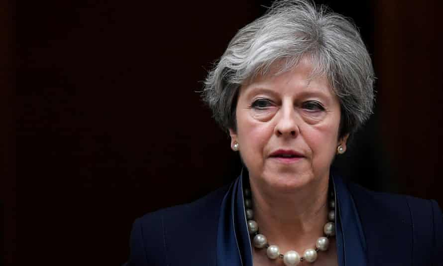 Theresa May leaves 10 Downing Street in London.