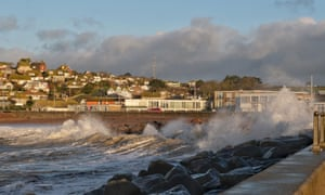 Wind and waves build up on West Bay in Dorset