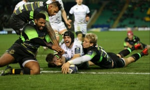 Northampton Saints v Ospreys - European Rugby Champions Cup - Pool Two - Franklin's Gardens Ospreys' Daniel Evans scores their fifth try