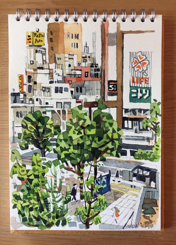 Colour sketch of Sumida area of Tokyo, Japan.