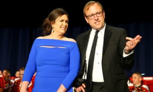 Sarah Huckabee Sanders and Jonathan Karl of ABC attend the dinner.