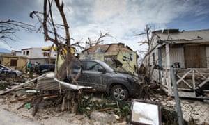Destruction from Hurricane Irma on the island of Sint Maarten.