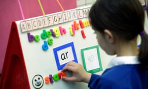 A pupil learning using synthetic phonics