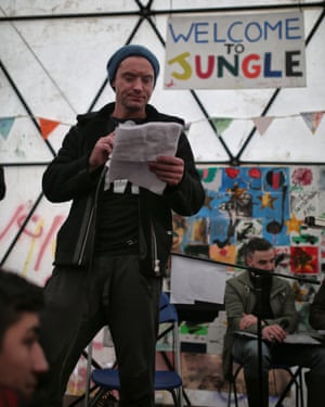 Jude Law reads his letter to David Cameron at the Letters Live event in Calais.