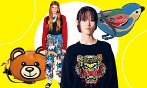 Animal magic … (right to left) Moschino bag, Gucci trousers, Kenzo jumper and Cath Kidston bag