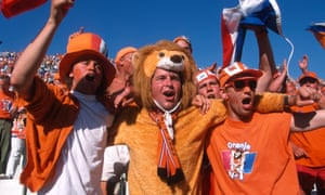 Netherlands fans in the crowd dressed for the occasion.
