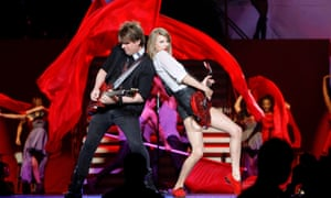 Taylor Swift plays her Gibson Les Paul Special during her RED tour in Shanghai.