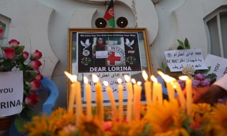 Candles and messages honour the life of Lorena Enebral Perez, a Spanish aid worker who was shot dead by a patient at a clinic in Mazar-e-Sharif, northern Afghanistan