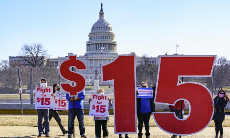 Activists appeal for a $15 minimum wage near the Capitol in Washington DC on 25 February.