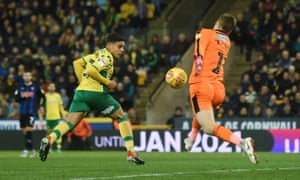 Max Aarons scores Norwich's second goal of the game at Carrow Road.