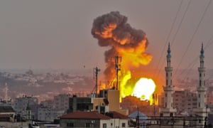 A fireball exploding in Gaza City during Israeli bombardment. Explosions were seen across the coastal enclave.