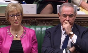 Andrea Leadsom, leader of the Commons, sitting in the chamber yesterday alongside Geoffrey Cox, the attorney general.