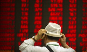 The news of the economic slump caused Asian stock markets to decline.