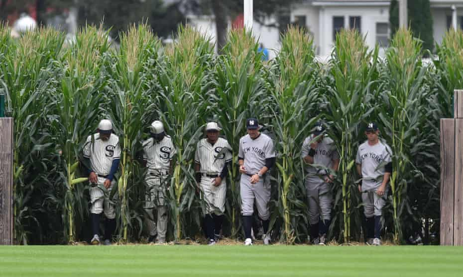 Players enter the Field of Dreams before the game between the Chicago White Sox and the New York Yankees