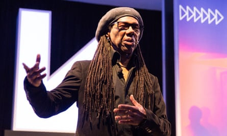 Nile Rodgers delivers his keynote speech at Austin Convention Center on Wednesday in Austin, Texas