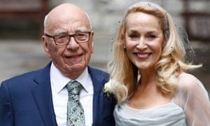 Media mogul Rupert Murdoch and former supermodel Jerry Hall celebrating their wedding at St Bride's church.