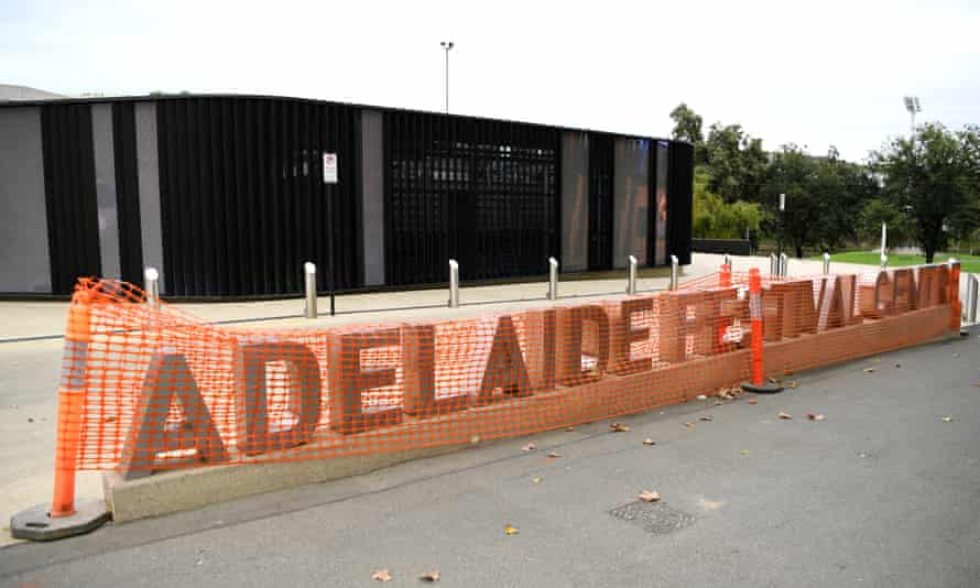 The Adelaide Festival Centre sign is covered during construction work in Adelaide on April 01, 2020 in Adelaide, Australia.
