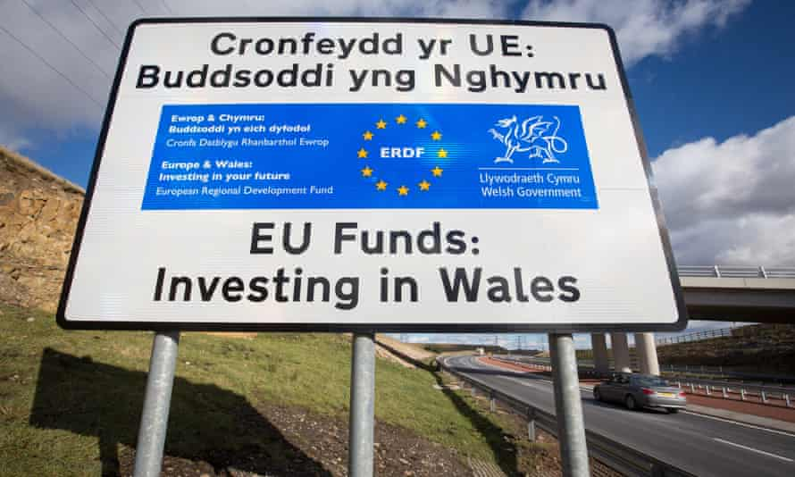 An EU investment sign in Ebbw Vale, Wales.