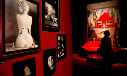 Man Ray's Le Violon d'Ingres, left, among other exhibits in the surrealist exhibtion.