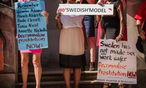 Members and supporters of the International Committee for the Rights of Sex Workers in Europe and the English Collective of Prostitutes protest outside the Swedish embassy in London in 2013 to demand an end to violence towards sex workers
