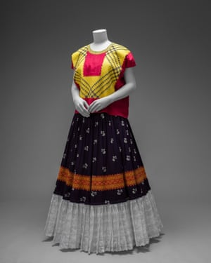 A cotton huipil with machine-embroidered chain stitch, which can be seen in the V&A's Making Herself Up exhibition.