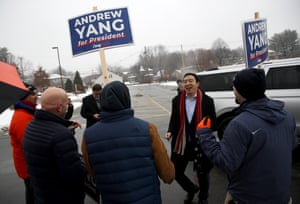 Andrew Yang greets supporters in Keene, New Hampshire.