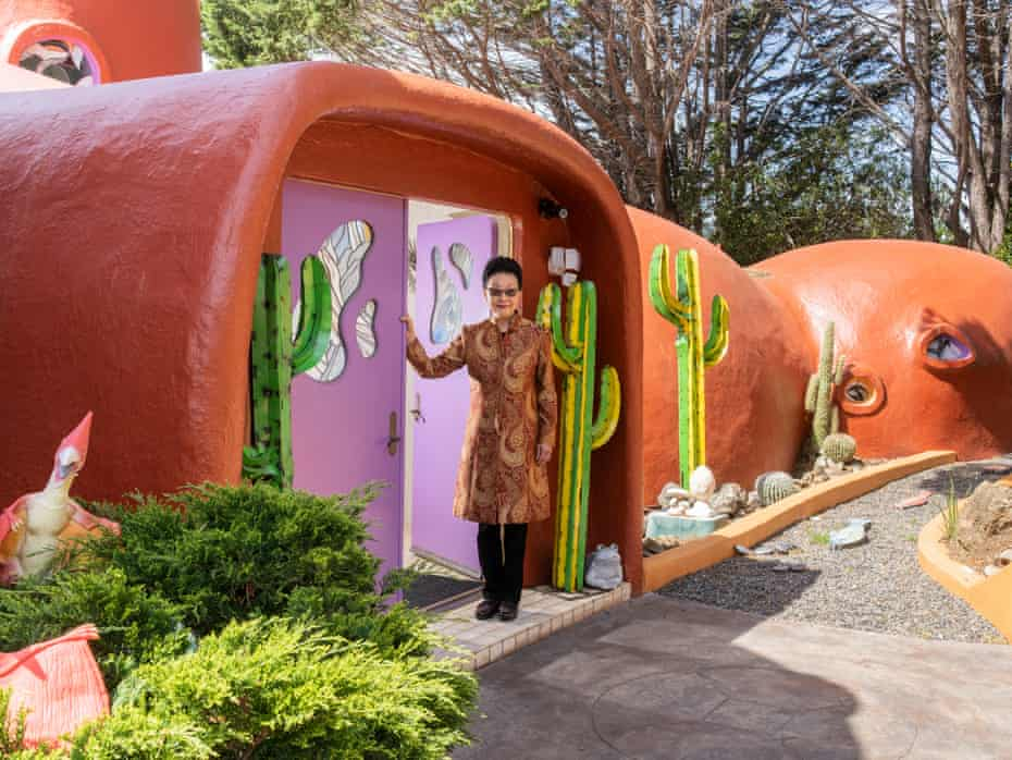 The Flintstone house owner, Florence Fang, in the front entry of her home in Hillsborough.