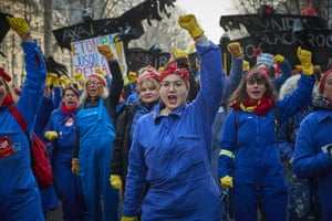 Union members dressed as cleaners protest in Paris, France