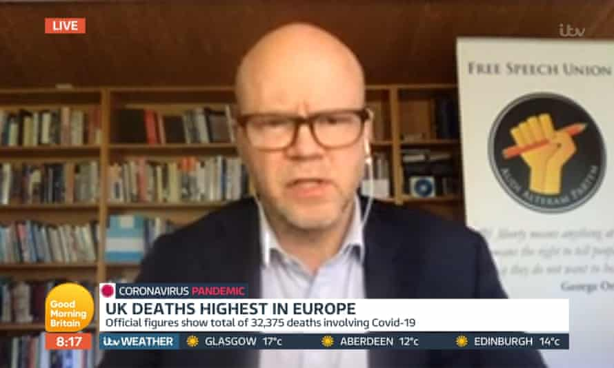 Toby Young appears on the Good MorningB ritain TV show - screengrab