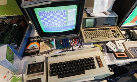 a Commodore VIC-20 and accessories at a vintage computing festival.