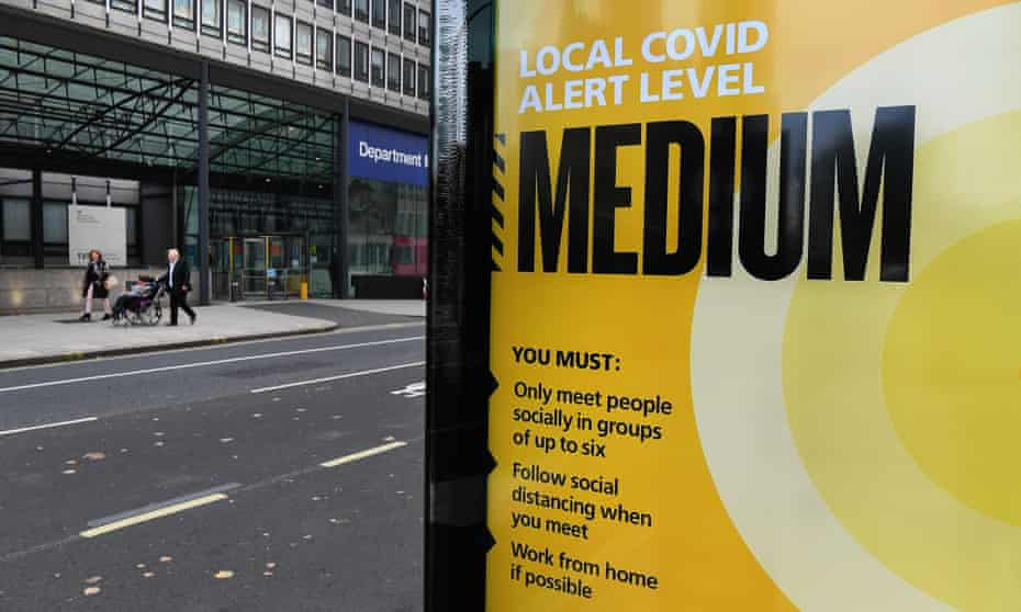 A Covid-19 alert level sign at a bus stop in central London.