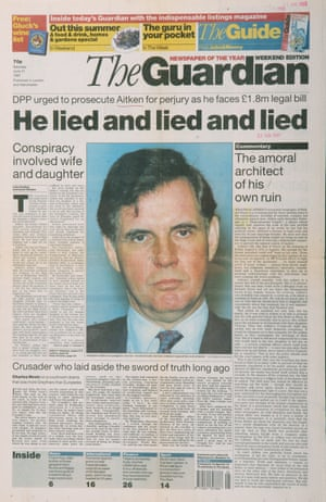 Guardian front page: 'He lied and lied and lied'
