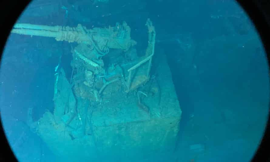 One of the gun turrets seen from the submersible