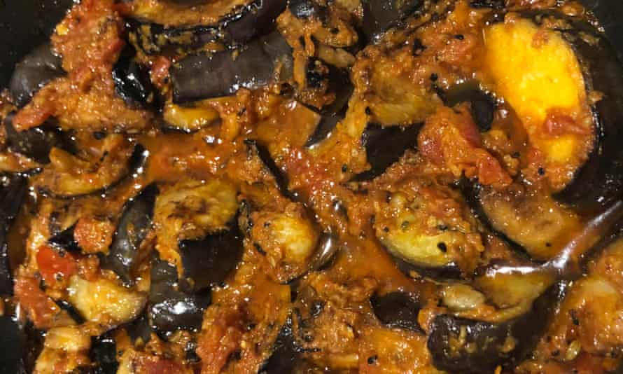 'It's inspired by a dish served at a grand hotel converted from a royal palace in the middle of a lake in Udaipur': aubergine cooked in the pickling style.