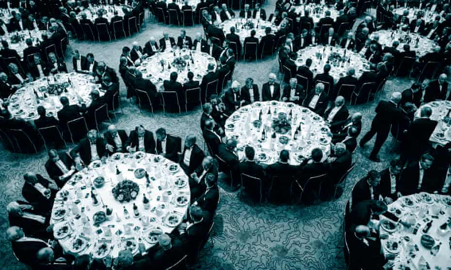 overhead view of tables at a charity banquet