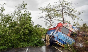A trunk is seen off the road near uprooted trees that have fallen on a main road in Alibag town of Raigad district, following cyclone Nisarga landfall in India's western coast.