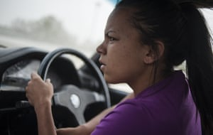 Stacey-Lee May driving her car during a round of spinning at the Midway spinning event in Soweto