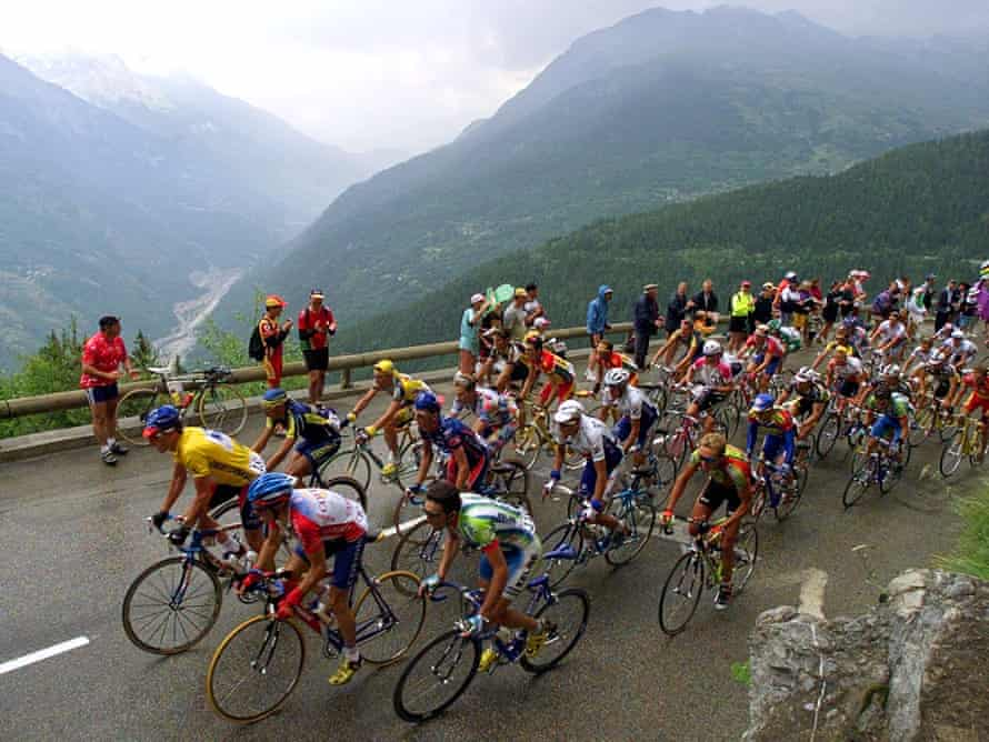 Lance Armstrong in the yellow jersey during his first Tour de France victory in 1999.